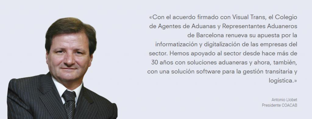 antoniollobetlanding 1024x393 - El Colegio de Agentes de Aduanas de Barcelona y Visual Trans unen sinergias