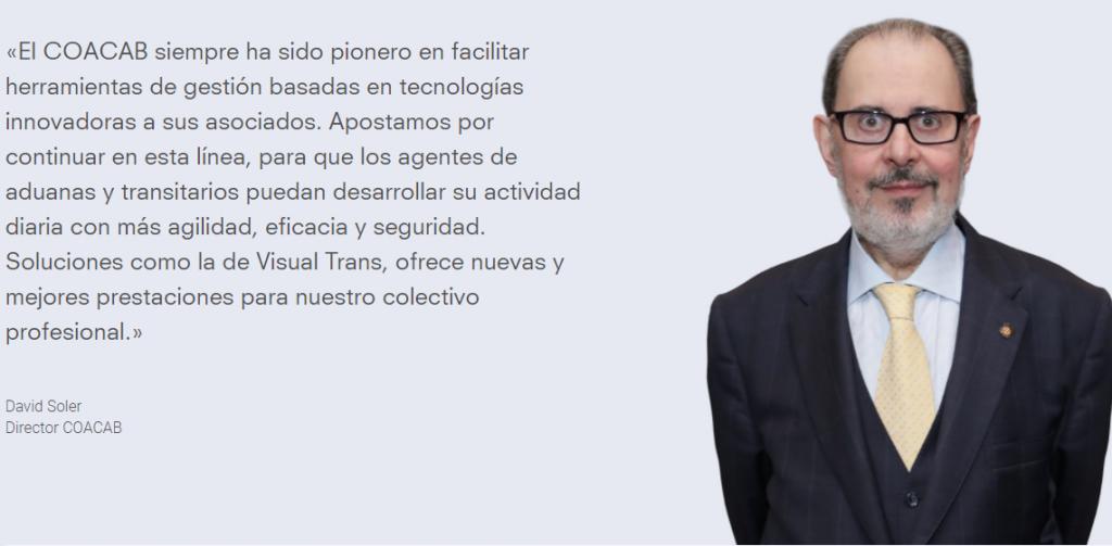 davidsolerlanding 1024x503 - El Colegio de Agentes de Aduanas de Barcelona y Visual Trans unen sinergias